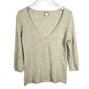 J.Crew 100% Cashmere V-neck Sweater Gray Size Lrg